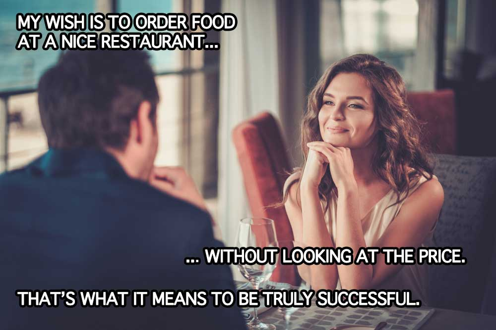 image of young couple success growth mindset date restaurant