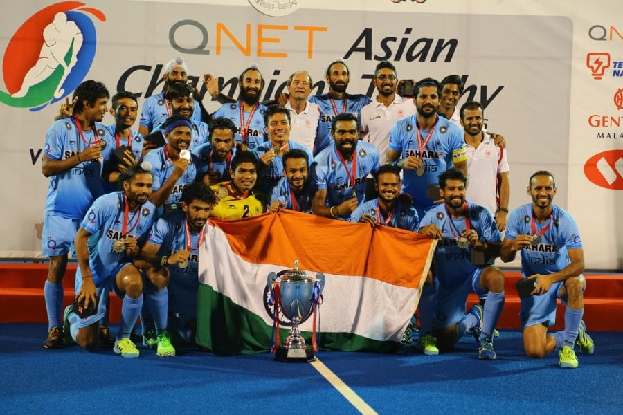India pose with their trophy after winning the QNET Asian Champions Trophy. They now set their sights on bigger titles