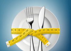 image of plate fork knife with measuring tape for weight loss